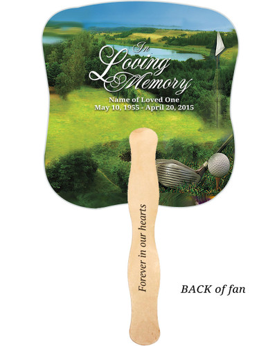 Golfer Cardstock Memorial Church Fans With Wooden Handle imprinted