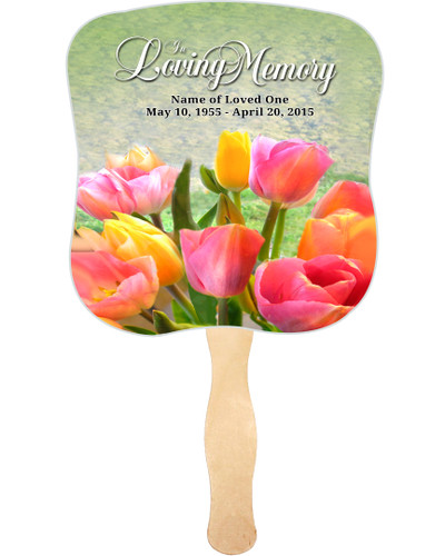 Harvest Cardstock Memorial Church Fans With Wooden Handle front