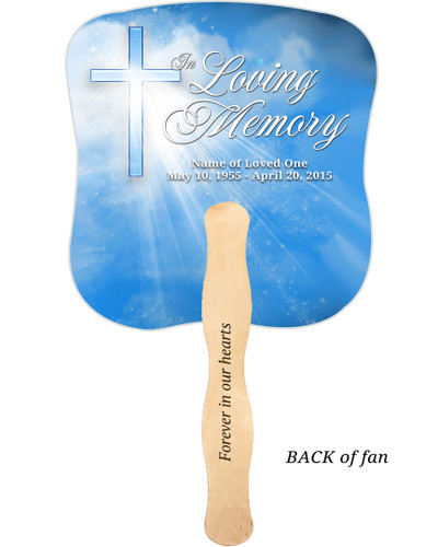 Heaven Cardstock Memorial Church Fans With Wooden Handle imprinted