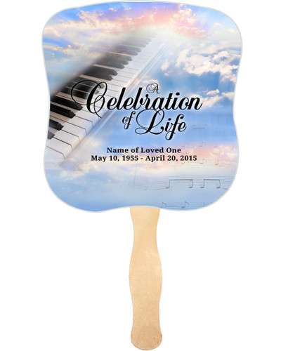 Ivory Cardstock Memorial Church Fans With Wooden Handle front