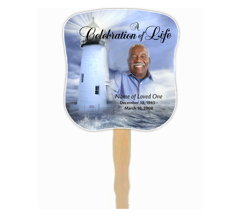 Lighthouse Cardstock Memorial Church Fans With Wooden Handle front photo