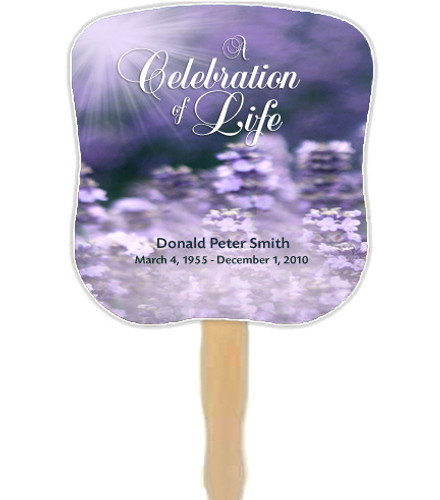 Lilac Cardstock Memorial Church Fans With Wooden Handle front