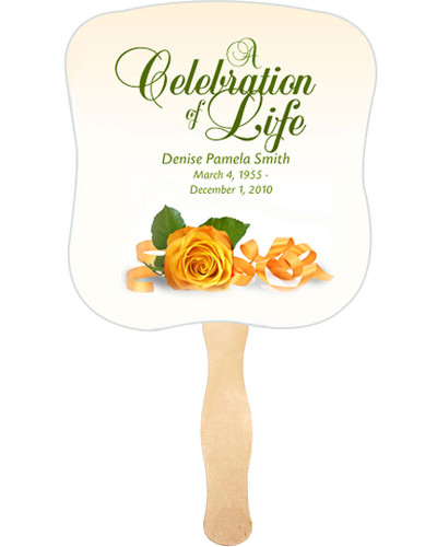 Memory Cardstock Memorial Church Fans With Wooden Handle front