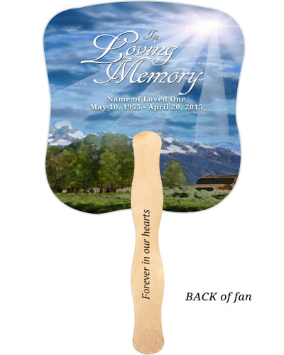 Outdoor Cardstock Memorial Church Fans With Wooden Handle imprinted