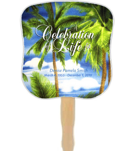 Paradise Cardstock Memorial Fan With Wooden Handle