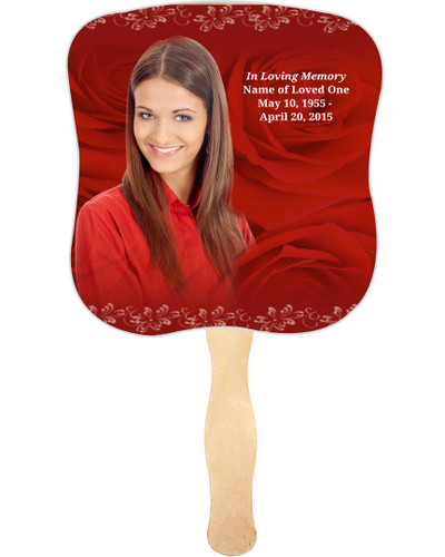 Passion Cardstock Memorial Church Fans With Wooden Handle photo