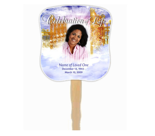 Pathway Cardstock Memorial Church Fans With Wooden Handle front back