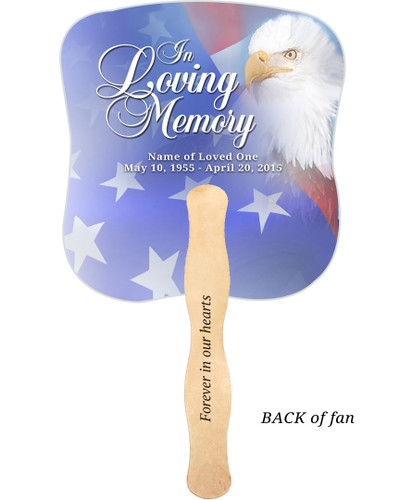 Patriotic Cardstock Memorial Church Fans With Wooden Handle imprinted