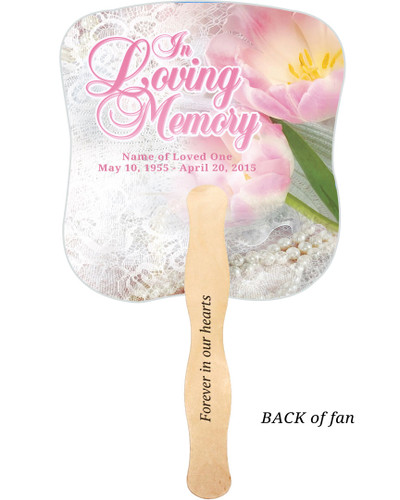 Pearls Cardstock Memorial Church Fans With Wooden Handle imprinted