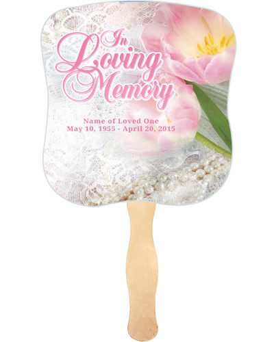 Pearls Cardstock Memorial Church Fans With Wooden Handle front