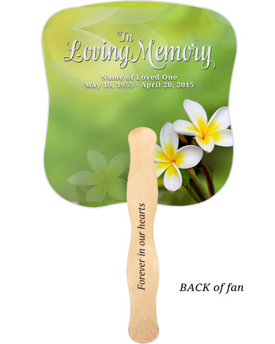 Plumeria Cardstock Memorial Church Fans With Wooden Handle imprinted