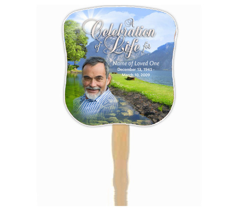Reflection Cardstock Memorial Church Fans With Wooden Handle photo front