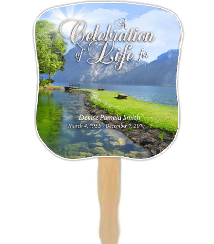 Reflection Cardstock Memorial Church Fans With Wooden Handle