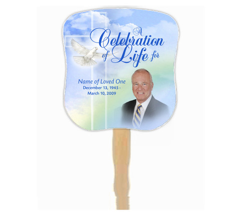 Salvation Cardstock Memorial Church Fans With Wooden Handle front photo