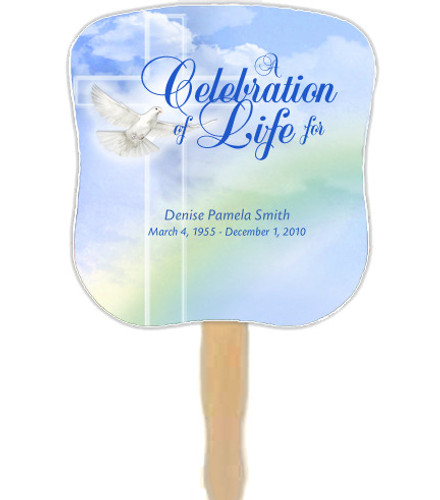 Salvation Cardstock Memorial Church Fans With Wooden Handle