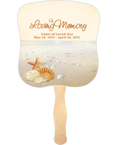 Seashore Cardstock Memorial Church Fans With Wooden Handle front