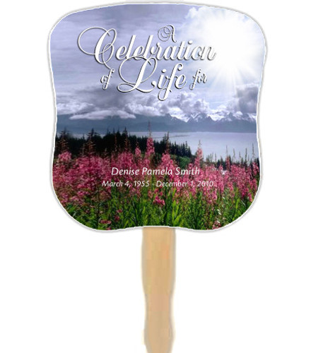 Seasons Cardstock Memorial Church Fans With Wooden Handle front