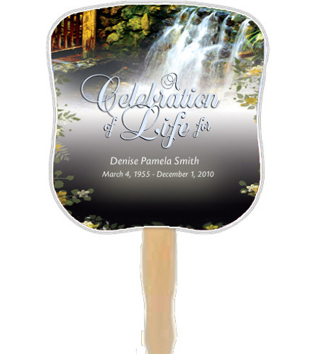Serene Cardstock Memorial Church Fans With Wooden Handle front