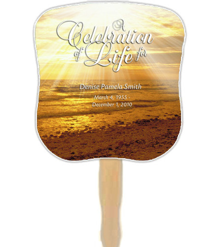 Shine Cardstock Memorial Church Fans With Wooden Handle front