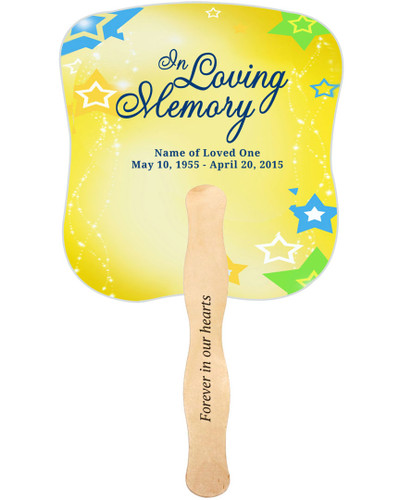Starry Cardstock Memorial Church Fans With Wooden Handle imprint