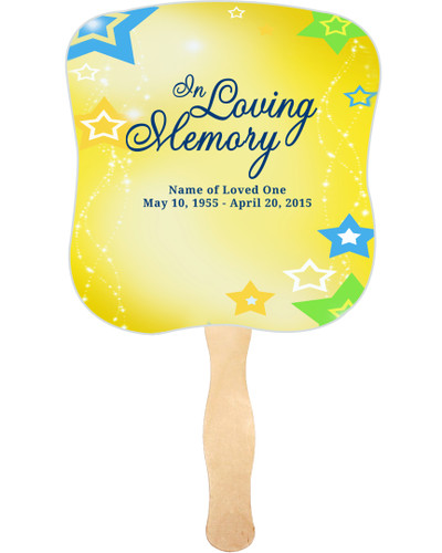Starry Cardstock Memorial Church Fans With Wooden Handle front
