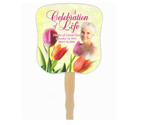 Sunny Cardstock Memorial Church Fans With Wooden Handle photo front