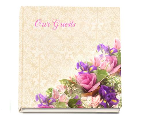 Golden funeral guest book