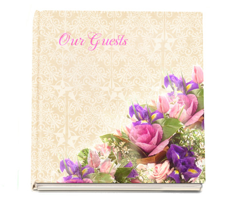 Golden funeral guest book