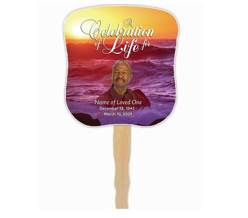 Twilight Cardstock Memorial Church Fans With Wooden Handle front photo