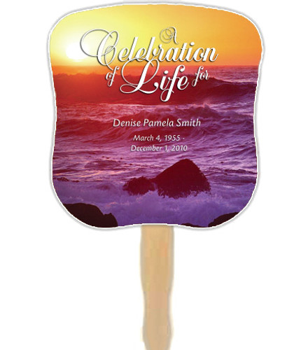 Twilight Cardstock Memorial Church Fans With Wooden Handle front