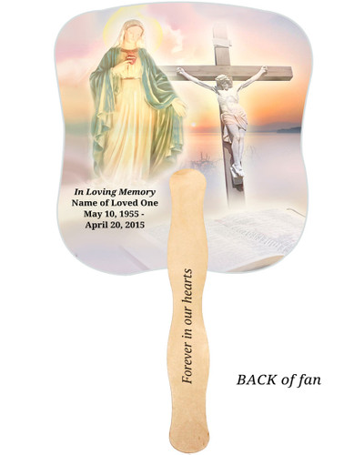 Vision Cardstock Memorial Church Fans With Wooden Handle