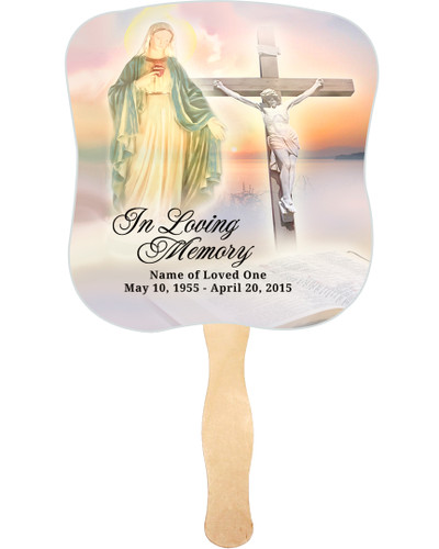 Vision Cardstock Memorial Church Fans With Wooden Handle front