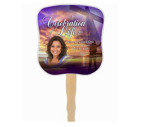 Worship Cardstock Memorial Church Fans With Wooden Handle with photo