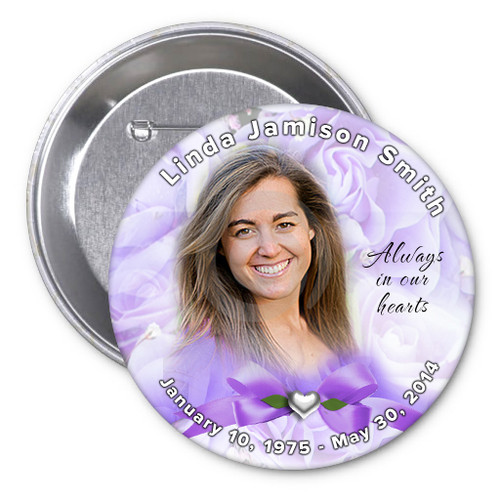 Amethyst Memorial Button Pins