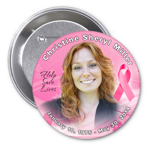 Breast Cancer Awareness Memorial Button Pins