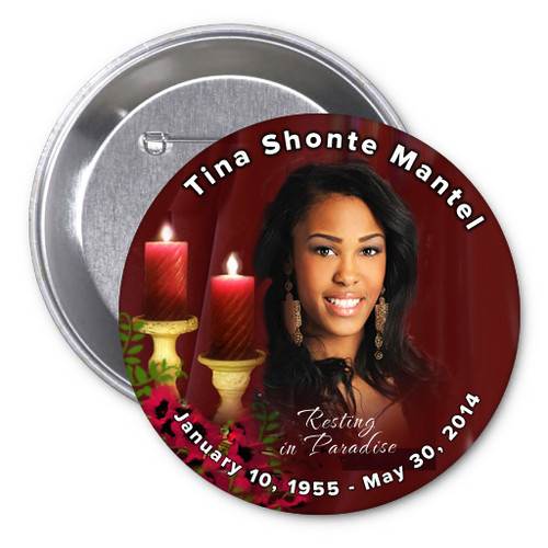 Candlelight In Loving Memory Memorial Button Pins