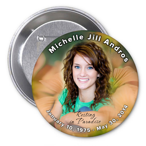 Floral In Loving Memory Memorial Button Pins