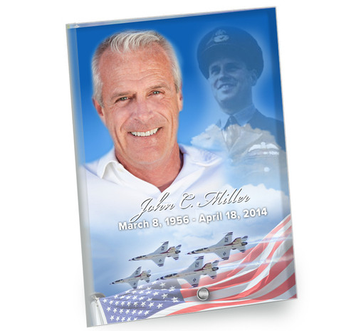 Air Force In Loving Memory Beveled Glass Memorial Portrait