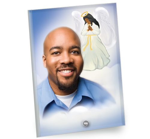 Angel In Loving Memory Beveled Glass Memorial Portrait