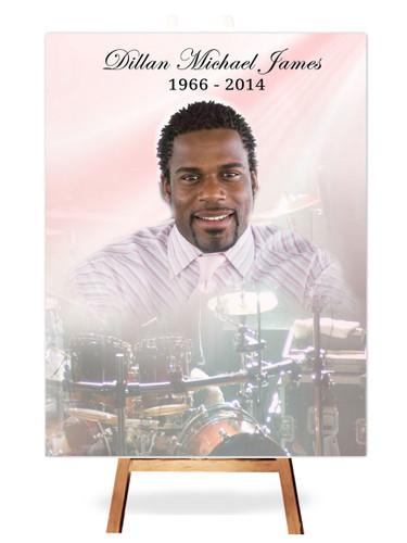 Drums In Loving Memory Memorial Portrait Poster on easel
