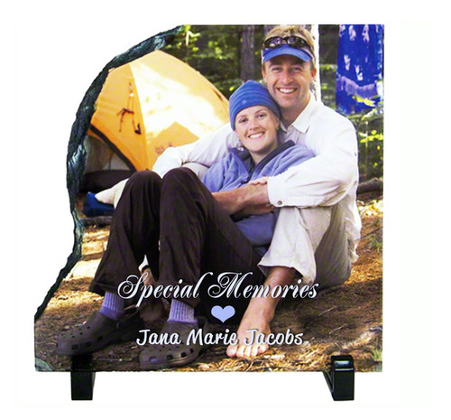 Left Contour Slate Stone Memorial Plaques with Stand