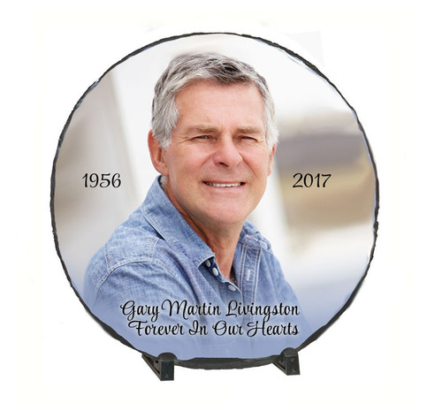 Medium Round Slate Stone Memorial Plaques with Stand