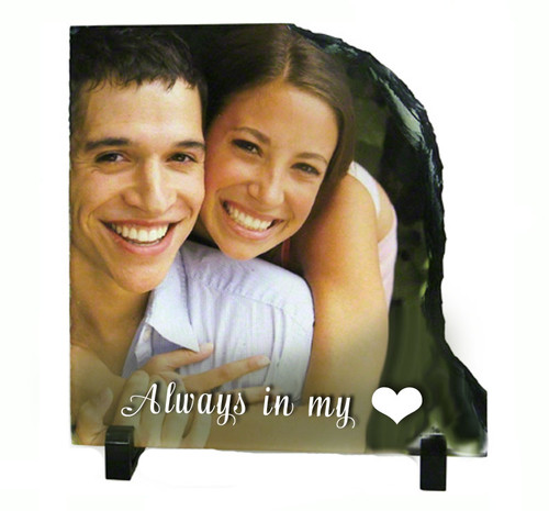Right Contour Slate Stone Memorial Plaques with Stand
