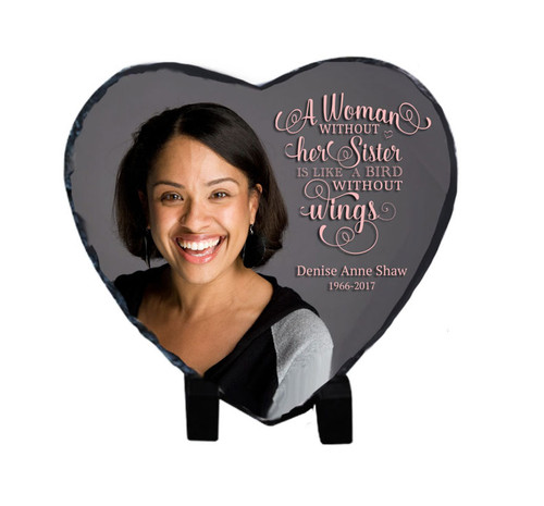 Small Heart Shape Slate Stone Memorial Plaques with Stand