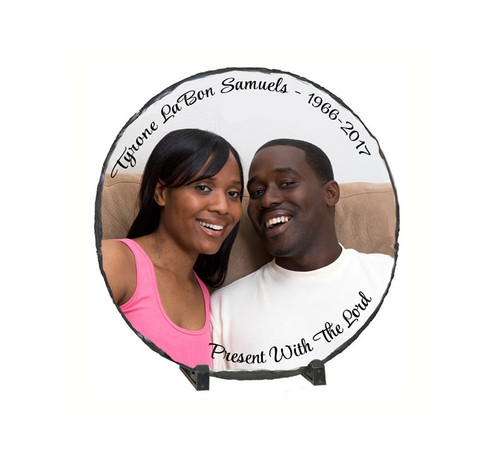 Small Round Memorial Slate Stone Plaques with Stand