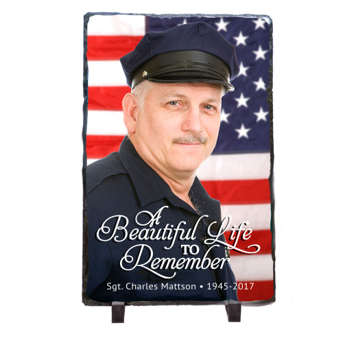 Vertical Rectangle Memorial Slate Stone Plaques with Stand