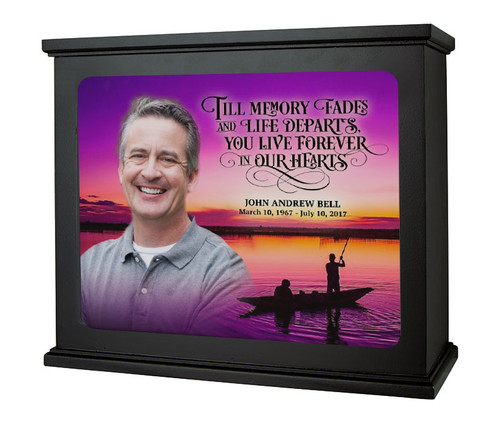 Fishing At Sunset In Loving Memory Memorial Photo Light Box