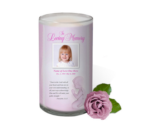 Angela Memorial Glass Candle 3x6