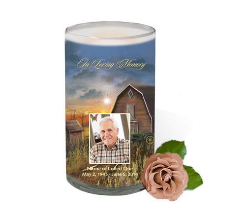 Barn Memorial Glass Candle 3x6