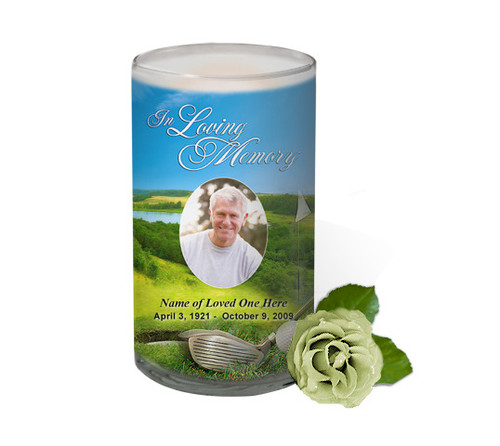 Golf Memorial Glass Candle 3x6